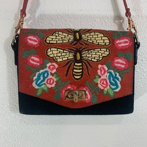 Free People Suede Embroidered Bee Bag